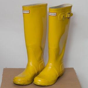 Hunter Original Tall Glossy Boot Yellow Size 8